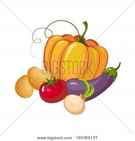 Still Life With Fresh Vegetable Crops Collection, Farm And Farming Related Illustration In Bright Cartoon Style. Organic And Natural Product Symbol Colorful Vector Illustration.