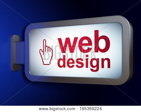 Web development concept: Web Design and Mouse Cursor on advertising billboard background, 3D rendering