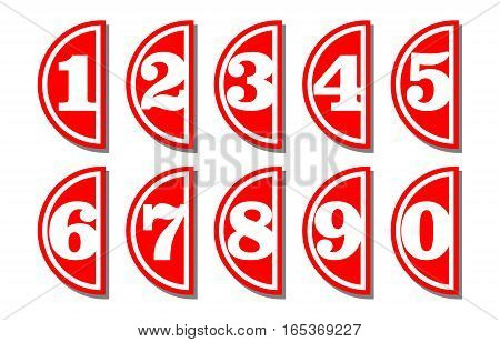 Set of artistic number in semicircular shape white digits on red background useful as infographic tag for presentation template