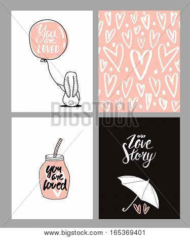 Romantic cards set. Four Valentine's day cards with cute Rabbit and hearts. Vector Illustration