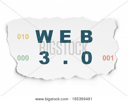 Web development concept: Painted blue text Web 3.0 on Torn Paper background with  Binary Code