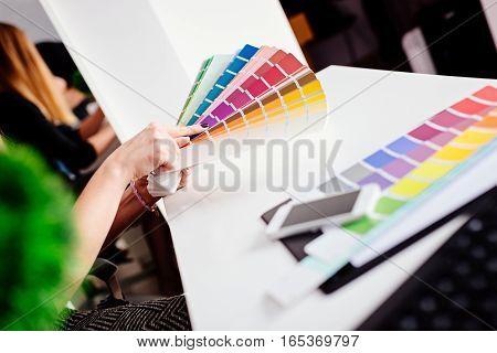 Woman Designer Or Architect Choosing Color