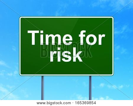 Timeline concept: Time For Risk on green road highway sign, clear blue sky background, 3D rendering