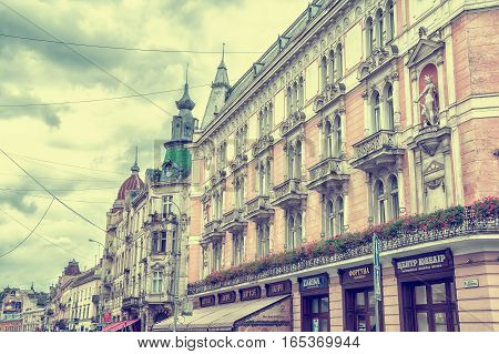 Lviv Ukraine - August 11 2016: Facade of restaurant House of Legends in Lviv. Vintage toned