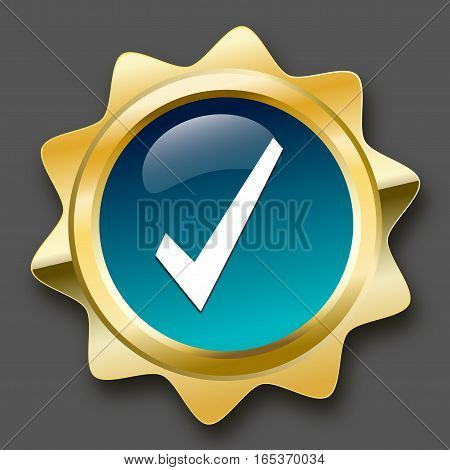 Finest quality seal or icon with hook symbol. Glossy golden seal or button with turquoise color.
