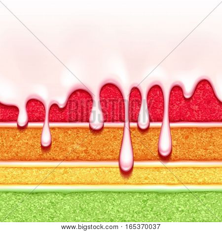 Rainbow sponge cake with white cream filling and glaze flow background. Colorful seamless texture. Vector illustration. Good for bakery menu design - poster banner flyer packaging.
