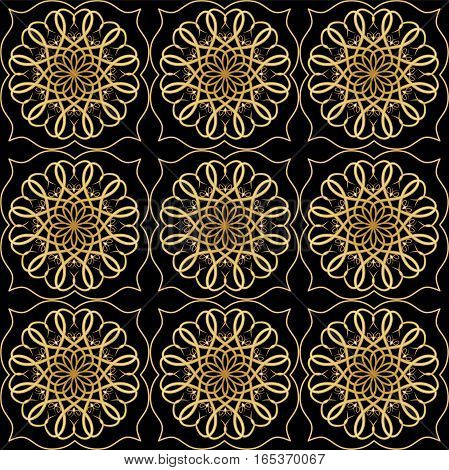 Luxury elegant background with golden filigree circular lace patterns on black background embossed rich ornament in antiquarian style