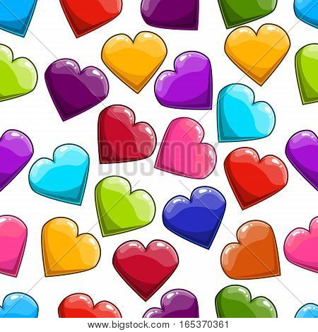 Seamless pattern with cartoon heart. Valentines illustration