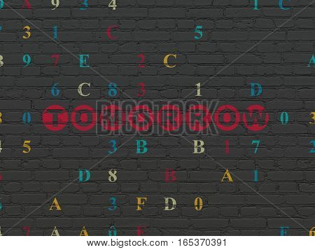 Time concept: Painted red text Tomorrow on Black Brick wall background with Hexadecimal Code