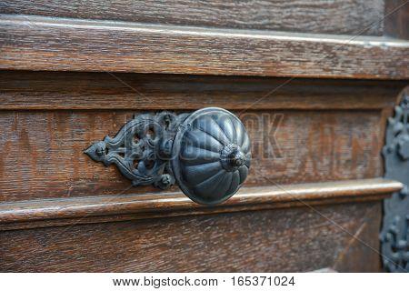 close-up classic door handle, antique handle, decoration,