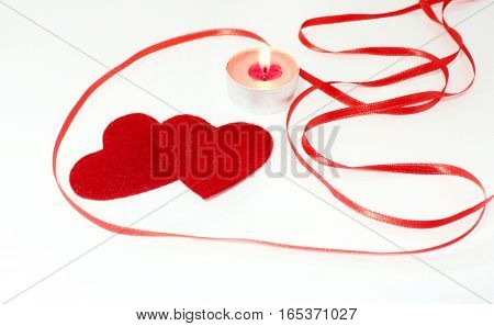 Romantic Heart composition and candles for Valentine's Day