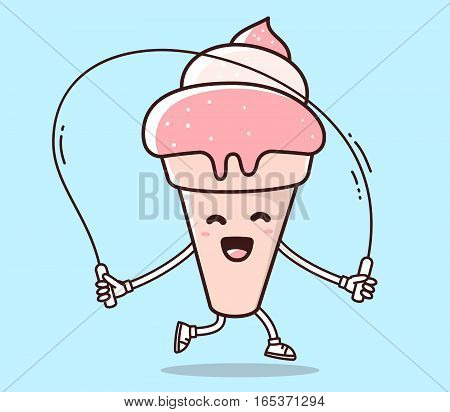 Vector Illustration Of Color Smile Ice Cream With Skipping Rope On Blue Background. Fitness Cartoon