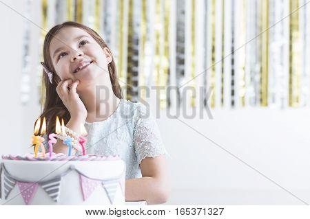Girl Making Birthday Wish