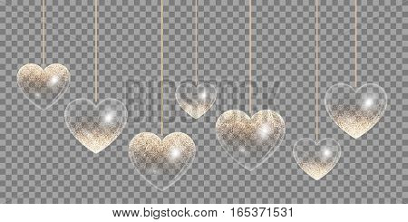 Hearts with sparkling golden reflections on a transparent background for wedding design