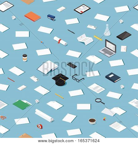 Vector isometric education concept seamless pattern. Messy pattern of higher education objects.