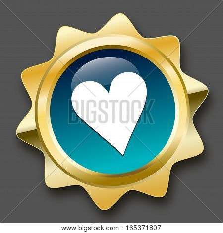 made with love seal or icon with heart symbol. Glossy golden seal or button with turquoise color.