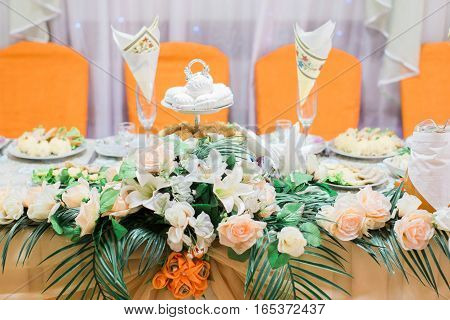 Catering Table Set Or Served Banquet Table