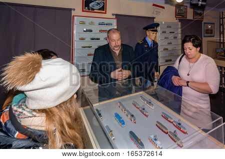 Kolomna, Russia - January 03, 2017: Owner tram museum exhibits a collection of miniatures to visitors. Kolomna - the birthplace of the first electric tram in Russia.