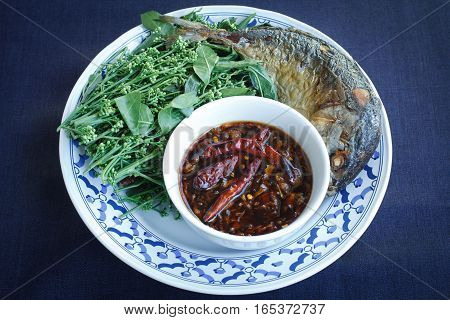 Thai food sweet and sour dip with Blanched Neem tree blossoms
