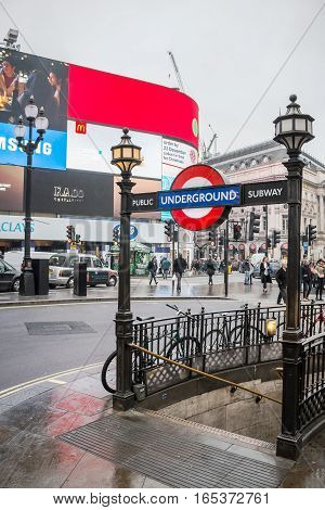 LONDON UK - DECEMBER 19 2016: Piccadilly Circus, entrance/exit to the underground