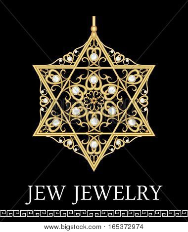 Golden luxury pendant David star with rich filigree ornaments and pearls isolated jewel historic jew symbol magen