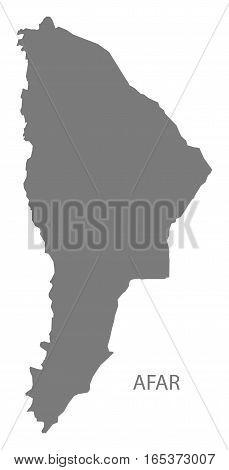 Afar Ethiopia Map in grey region silhouette illustration