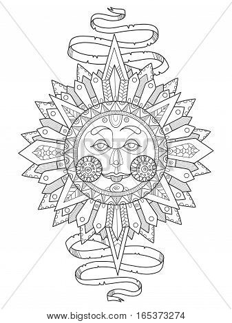 Sun with face coloring book vector illustration. Anti-stress coloring for adult. Tattoo stencil. Black and white lines. Lace pattern