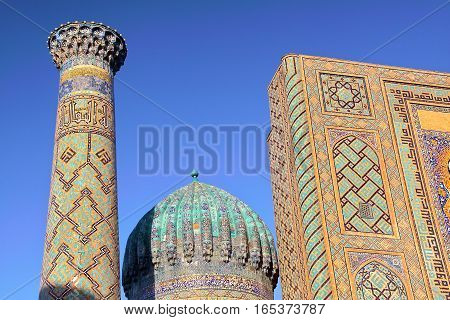 SAMARKAND, UZBEKISTAN: Architectural detail of the Madrasas at the Registan