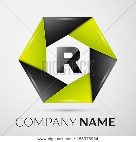 Letter R vector logo symbol in the colorful circle on grey background. Vector template for your design