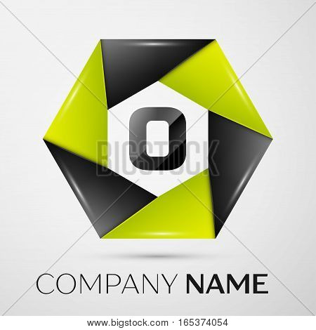 Letter O vector logo symbol in the colorful circle on grey background. Vector template for your design