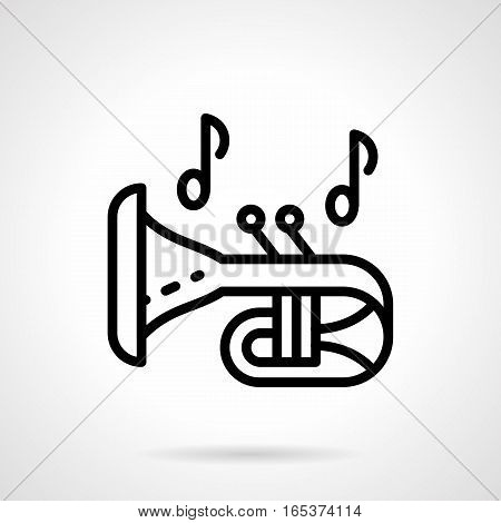 Musical instrument theme. Symbol of trumpet and notes. Brass and woodwind music. Equipment for concert, festival, performance. Black simple line design vector icon.