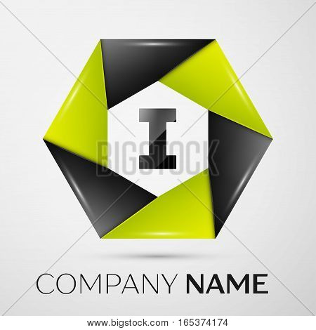 Letter I vector logo symbol in the colorful circle on grey background. Vector template for your design