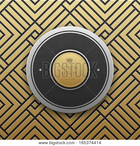 Classical Text Background On Golden Ornament. Elegant Classic Style. Useful For Invitations Greeting