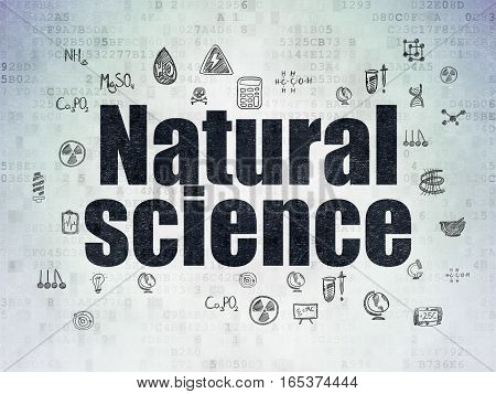 Science concept: Painted black text Natural Science on Digital Data Paper background with  Hand Drawn Science Icons