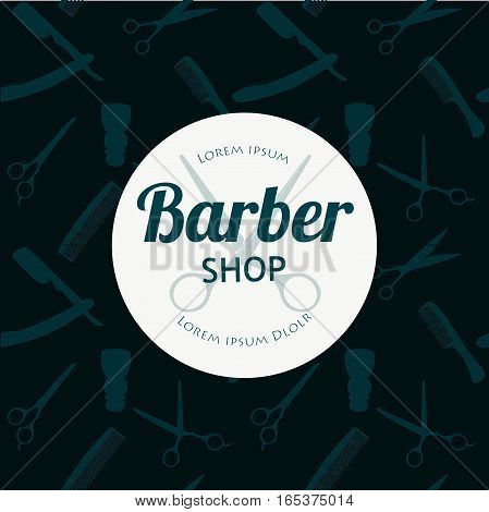 Barber Shop or Hairdresser background set with hairdressing scissors, shaving brush, razor, comb for man salon vector illustration for baber shop