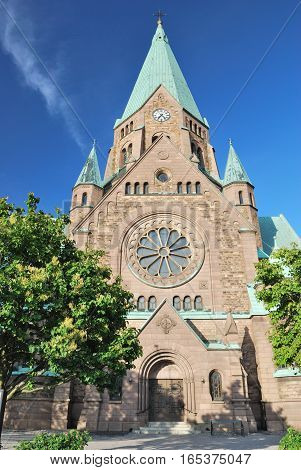 Stockholm Sweden. Lutheran Sophia Church in a sunny summer day