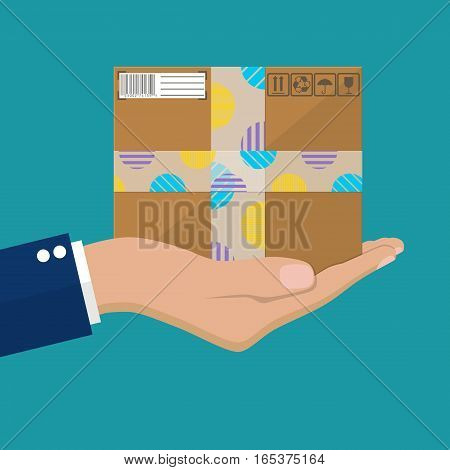 Courier Hands with postal cardboard box. Delivery service concept. Vector illustration in flat design.