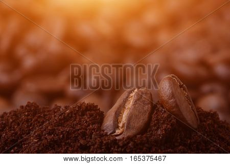 Closeup Of Coffee Beans At Roasted Coffee Heap. Coffee Bean On Macro Ground Coffee Background. Arabi