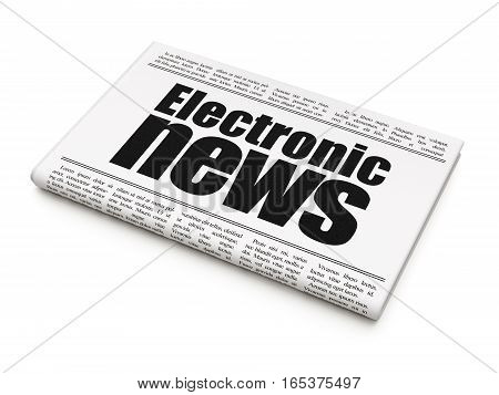 News concept: newspaper headline Electronic News on White background, 3D rendering