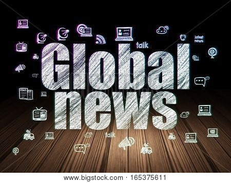 News concept: Glowing text Global News,  Hand Drawn News Icons in grunge dark room with Wooden Floor, black background