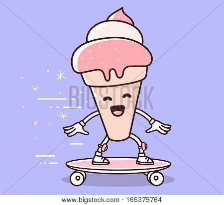 Vector Illustration Of Pink Color Smile Ice Cream Riding Skateboard On Bluebackground. Skateboarding