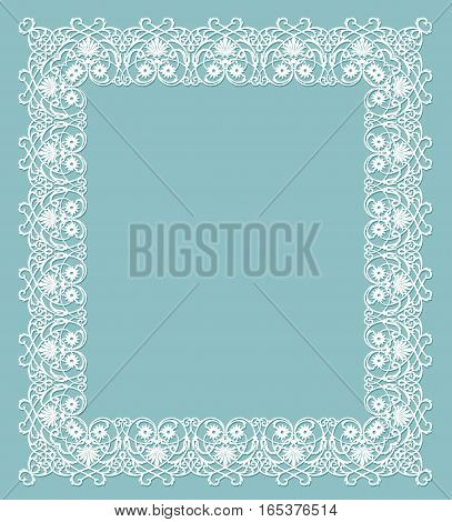 white frame with shadow on turquoise background
