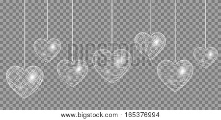 Romantic design elements for registration of congratulations. Heart with light effects on a transparent background