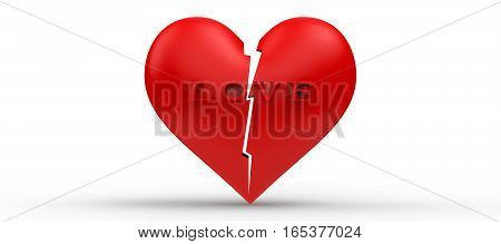 broken Heart 3d rendering red heart and letter LOVE is broken on isolated white background