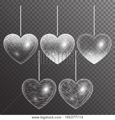 A set of hearts on a transparent background for design valentines wedding invitations