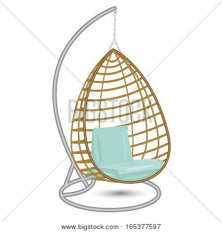 wicker hanging chair swing hanging on the chain on the metal rack with blue pillows
