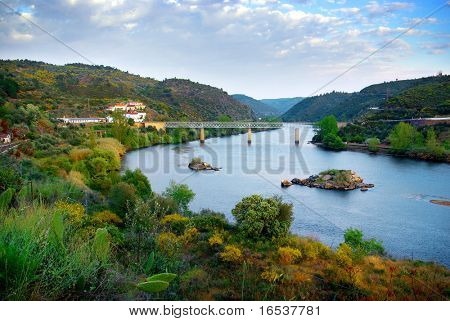 Beautiful landscape of River Tagus valley in Portugal