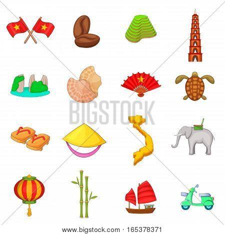 Vietnam travel icons set. Cartoon illustration of 16 Vietnam travel vector icons for web