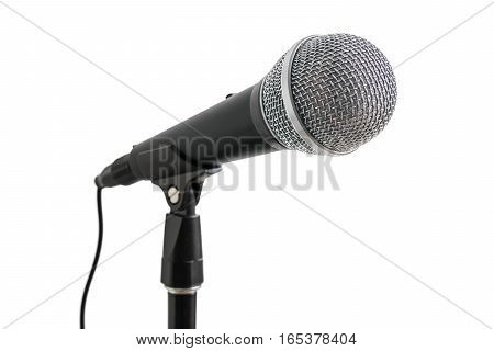 Microphone On Stand Isolated On White Background.