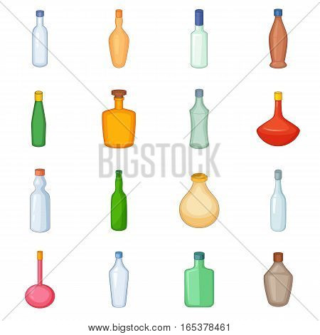 Different bottles icons set. Cartoon illustration of 16 different bottles vector icons for web